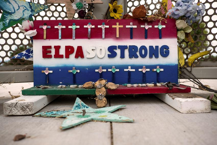 A memorial honoring the victims of the Walmart shooting at Ponder Park in El Paso.