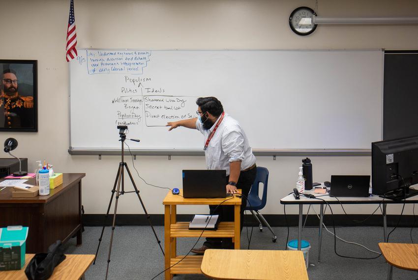 U.S. History teacher Cris Hernandez remotely teaches a class in an empty classroom at Westfield High School on Sept 15, 2020.