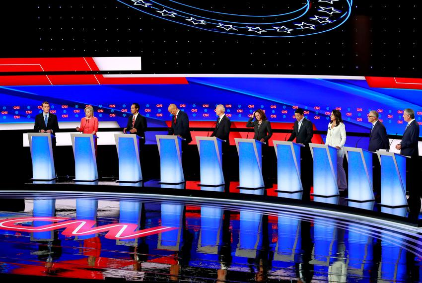 Democratic presidential candidates before the start of the second 2020 presidential Democratic candidates debate in Detroit,…