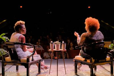 Nikole Hannah-Jones (right) speaks with Errin Haines during a one-on-one panel at the Paramount Theatre.