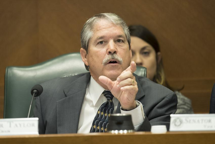 State Sen. Larry Taylor, R-Friendswood, chair of the Senate Education Committee, directs a witness during testimony on March…