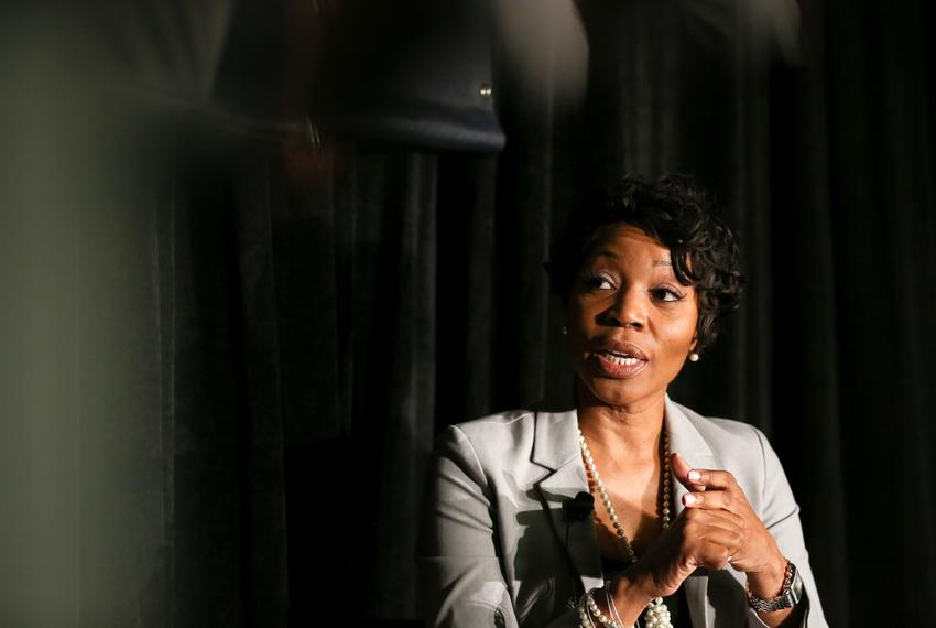 """Dallas Police Chief Renee Hall is interviewed by Krys Boyd, host and managing editor of KERA's """"Think,"""" at The Texas Tribune…"""