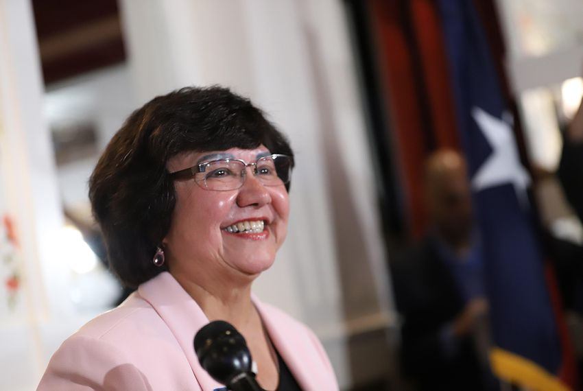 Lupe Valdez gives her victory speech after defeating Andrew White in the Democratic runoff for governor on Tuesday, May 22, 2018.