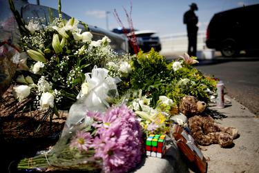 A shrine near the Walmart where 20 people lost their lives to a mass murderer.