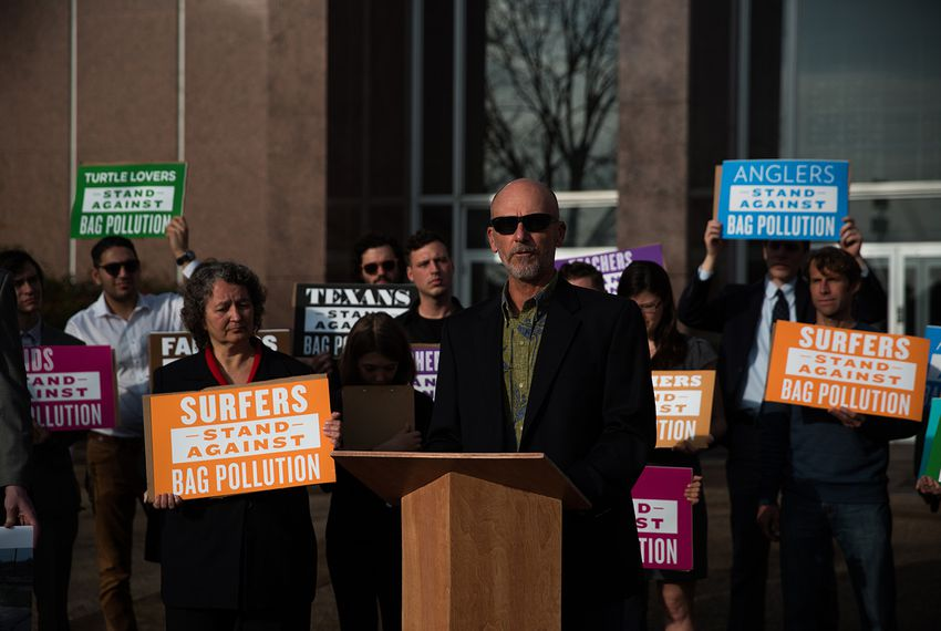 Single-use bag ban advocates hold a press conference before the Texas Supreme Court prior to oral arguments on the legality of Laredo's ban on Jan. 11, 2018.
