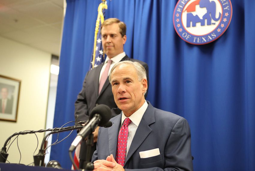 At a news conference on Nov. 27, 2017, Gov. Greg Abbott announces that he will appoint Jimmy Blacklock (left), the governor's general counsel, to replace Don Willett on the Texas Supreme Court once Willett is confirmed to the federal bench.