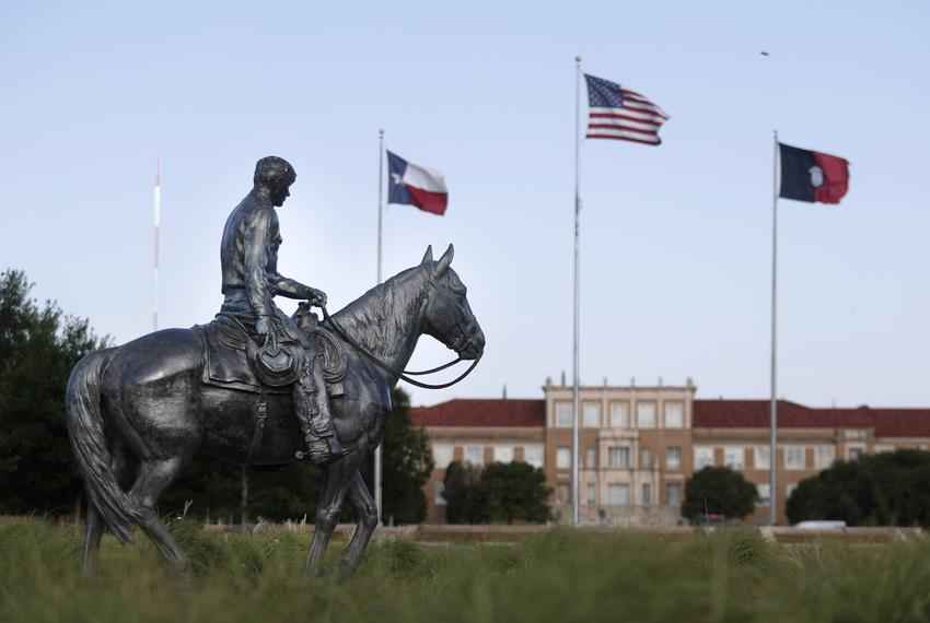 """A Statue of Will Rogers """"Riding into the Sunset"""" was erected in 1948 near Memorial Circle on the Texas Tech University campu…"""