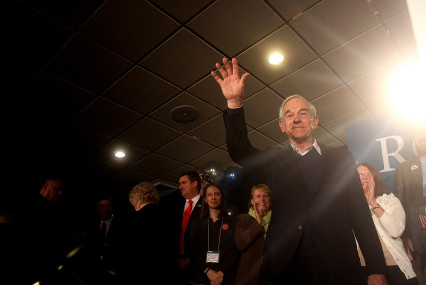 Ron Paul in Manchester speaking to supporters after the 2012 New Hampshire primary.