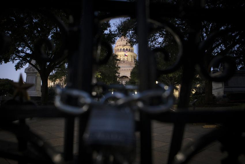 The Texas Capitol is locked on Jan. 6, 2021.