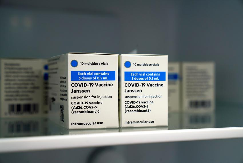 Johnson & Johnson's COVID-19 vaccines are kept refrigerated at the Forem vaccination center in Pamplona, Spain on April 22, …