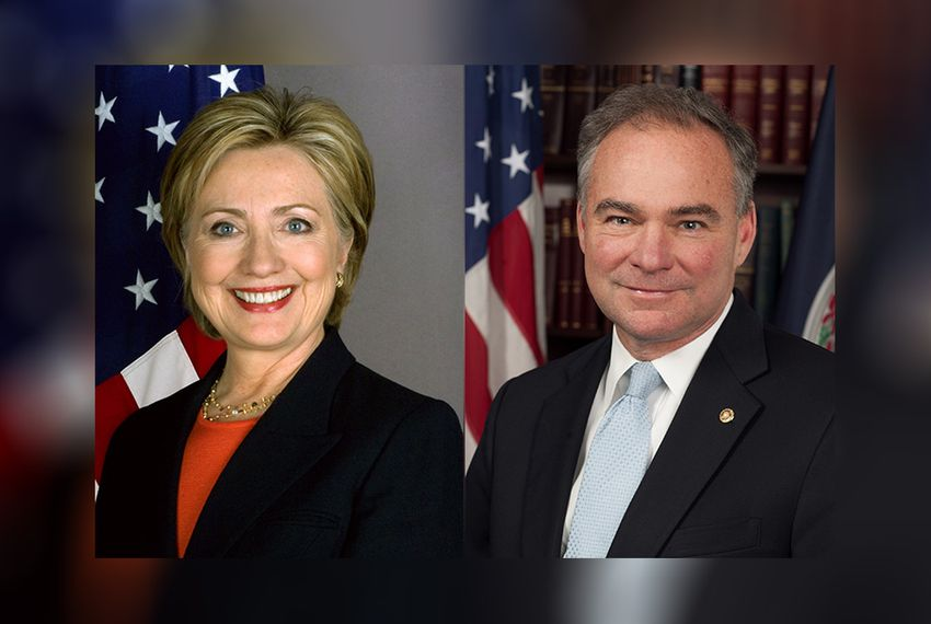 2016 Democratic nominees for president and vice president Hillary Clinton and Tim Kaine.