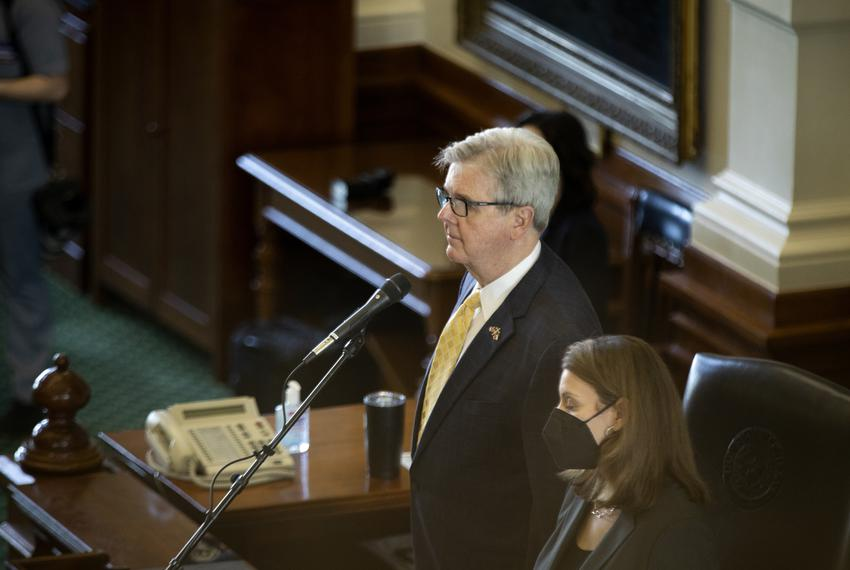 Lt. Gov. Dan Patrick at the dias in the Senate chamber on the second day of the 2021 legislative session on Jan. 13, 2021.