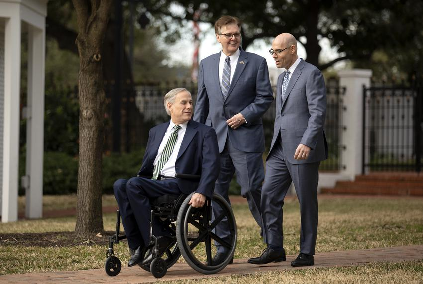 Gov. Greg Abbott, Lt. Gov. Dan Patrick and House Speaker Dennis Bonnen at a joint press conference held at the Governor's Ma…