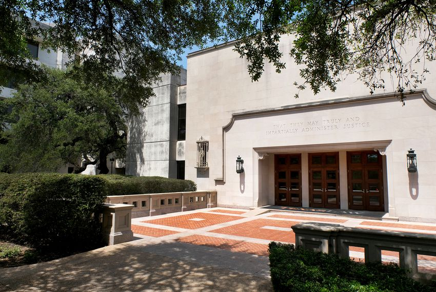 The University of Texas Law School building on Wednesday, April 11, 2018