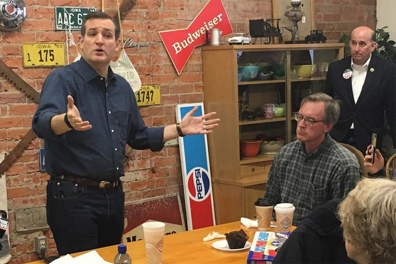 U.S. Sen. Ted Cruz, left, speaks at a campaign event on Nov. 28, 2015, in Iowa as U.S. Rep. Louie Gohmert, far right, looks on.