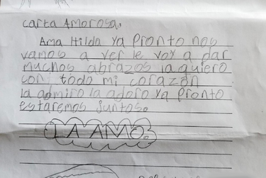 Hilda received this drawing from her 8-year-old grandson, as he and his three siblings were detained in a migrant children's shelter.