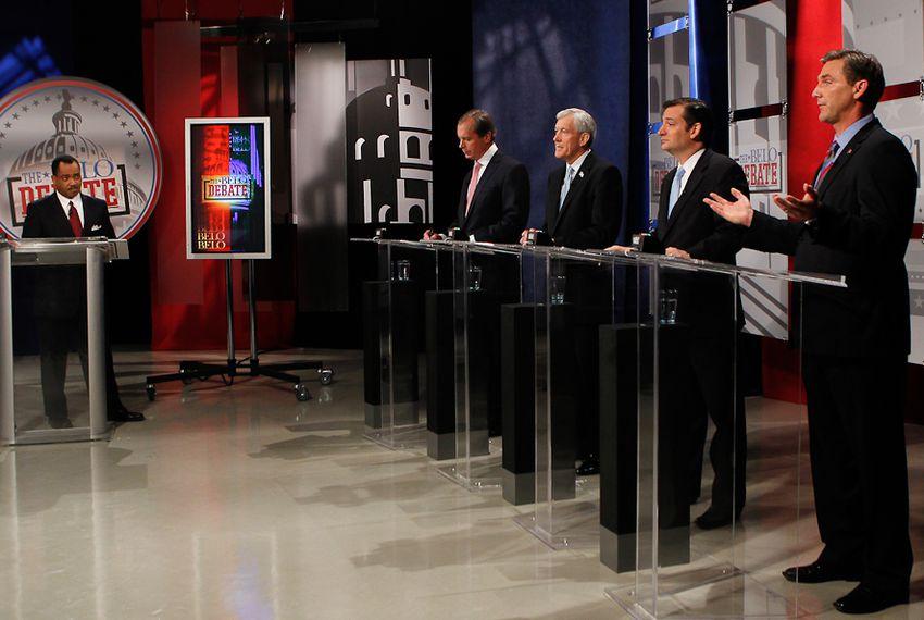 The four major Republican contenders for the U.S. Senate — David Dewhurst, Tom Leppert, Ted Cruz and Craig James — debated in Dallas on April 13, 2012.