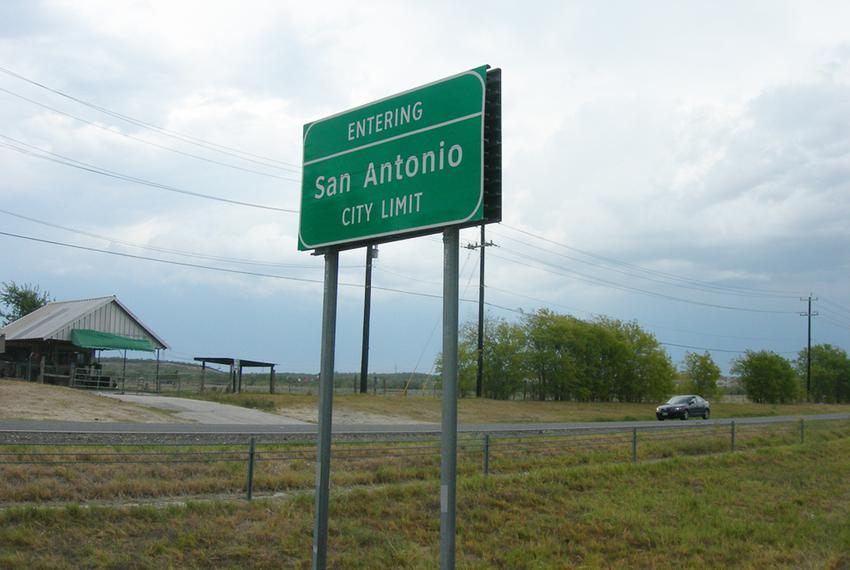 San Antonio city limit sign on U.S. Highway 90 west of the city.
