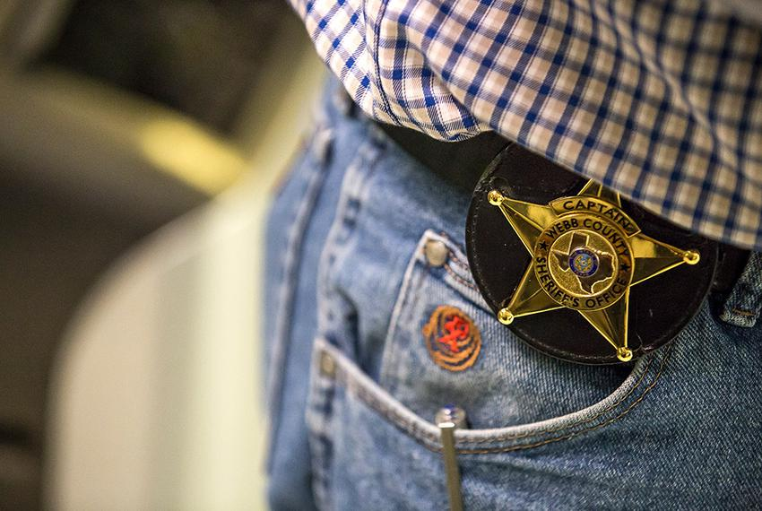 The badge of Captain Jaime Magaña in Webb County Jail in Laredo, TX, on Nov. 5, 2015. Photo by Martin do Nascimento
