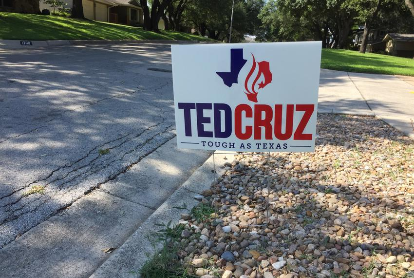 A rare yard sign supporting U.S. Sen. Ted Cruz in west Fort Worth on August 27, 2018.