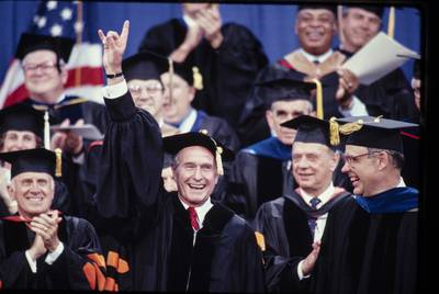 Bush received an honorary degree in 1990 from the University of Texas at Austin. |