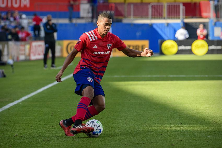FC Dallas defender Reggie Cannon during the game between FC Dallas and the Montreal Impact at Toyota Stadium in Frisco on Ma…