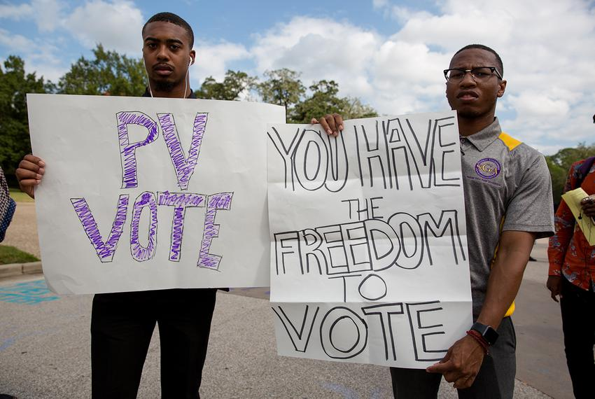 Brizjon Wilright (l.) and Kendric Jones stand outside the Willie A. Tempton Student Center at Prairie View A&M encouraging...