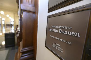 The plaque outside the Capitol office of state Rep. Dennis Bonnen, R-Angleton.