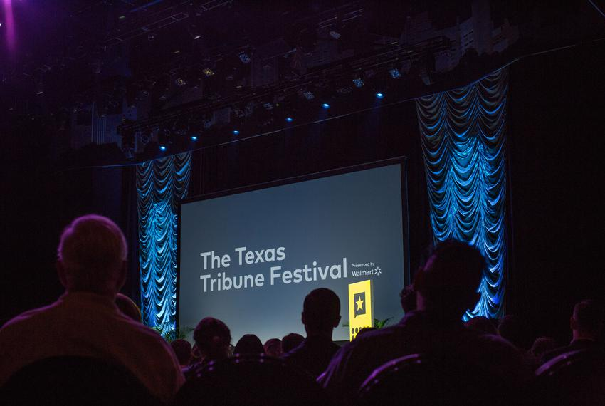 An audience watches the opening keynote with former Secretary of State John Kerry at The Texas Tribune Festival on Sept. 2...