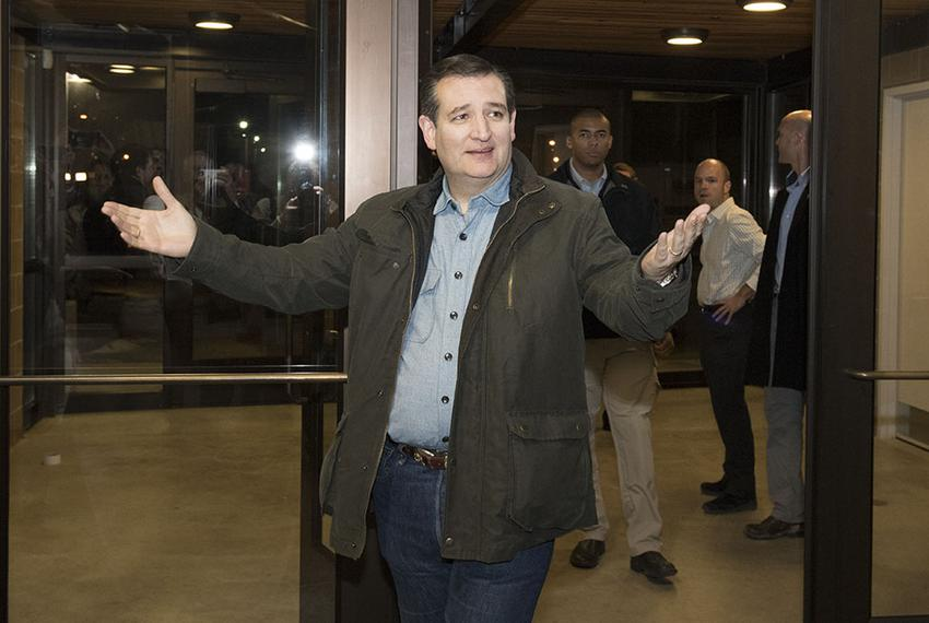 U.S. Sen. Ted Cruz enters the State Fairgrounds building in Des Moines on Jan. 31, 2016, the evening before the Iowa caucuse…