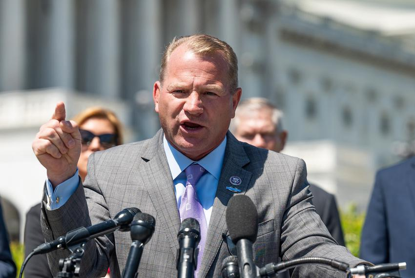 U.S. Rep. Troy Nehls, R-Richmond, speaks at a press conference about his recent trip to the southern border, in Washington o…