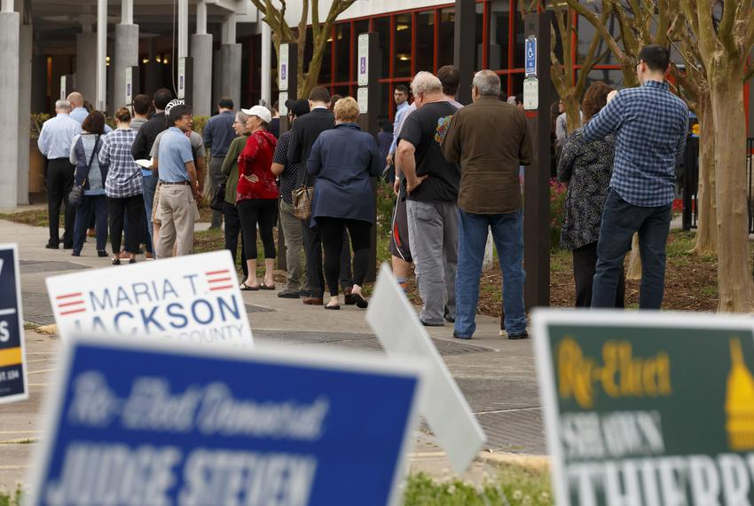 Super Tuesday voting lines at the Metropolitan Multi Service Center near downtown Houston on Tuesday, March 3, 2020.