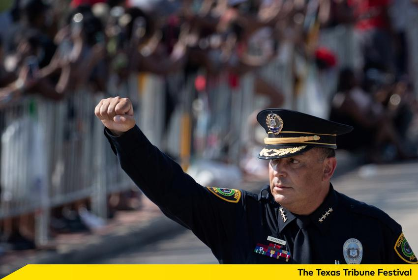 Houston Police Chief Art Acevedo raises his fist during the funeral procession of George Floyd at the Houston Memorial Garde…