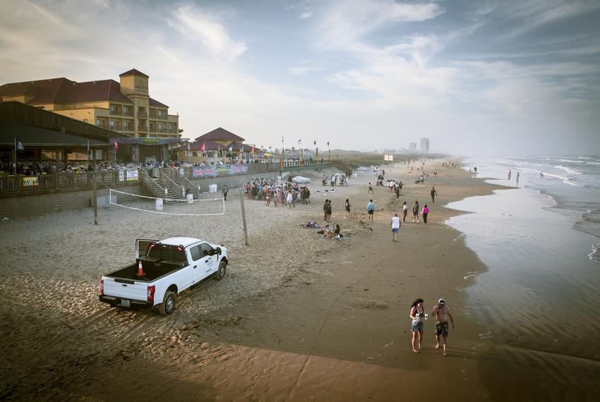 People gathered at Clayton's Beach Bar on South Padre Island during spring break on March 10, 2021.