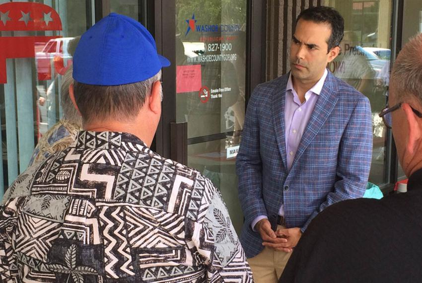 Texas Land Commissioner George P. Bush speaks with Nevadans before a meet-and-greet on June 17, 2015, in Reno. He spent the …