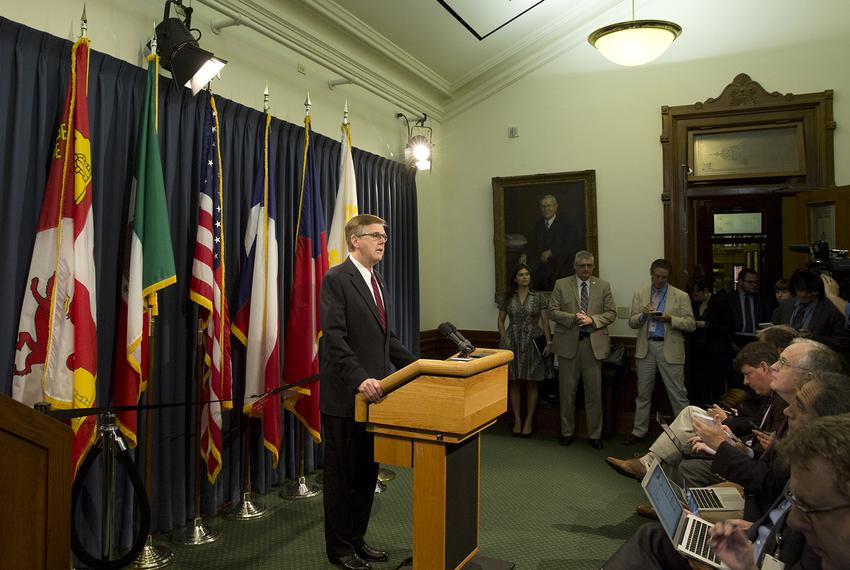 At a May 17, 2017 press conference at the Capitol, Lt. Gov. Dan Patrick warns he'll seek a special session if the House does…