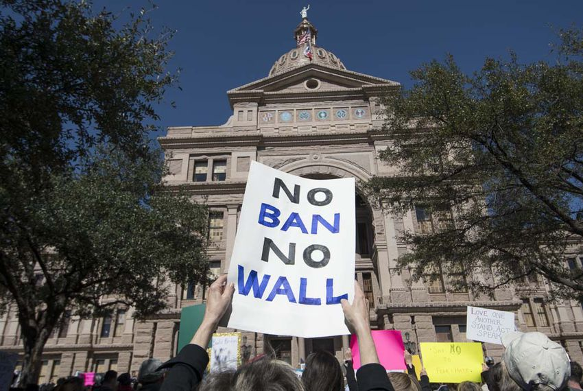 NoBanNoWall protesters crowd the south steps of the Texas Capitol Feb. 25, 2017 to rally against President Donald Trump's immigration actions.