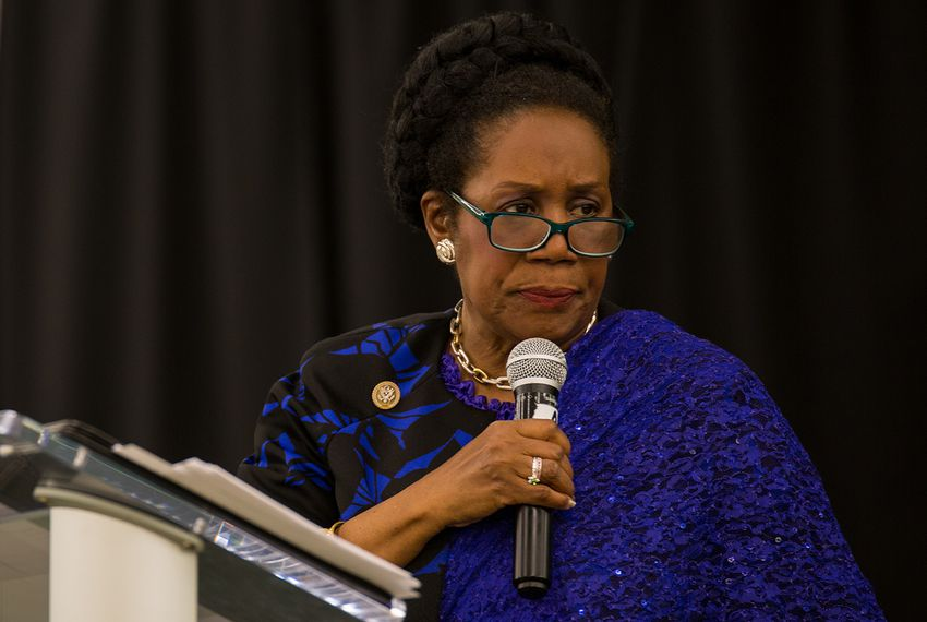 """U.S. Rep. Shelia Jackson Lee, D-Houston, speaks at the """"No More Blood Shed"""" town hall meeting in Houston, Texas on April 2, 2018."""