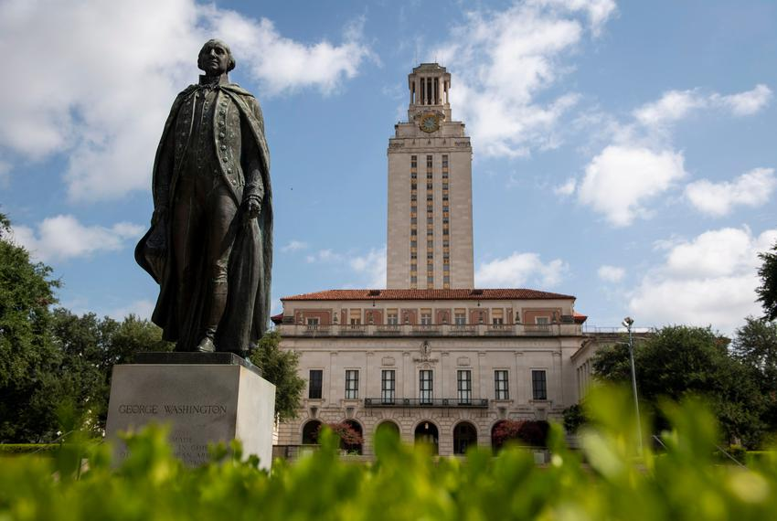 The statue of George Washington outside the University of Texas at Austin Main Building on July 16, 2020.