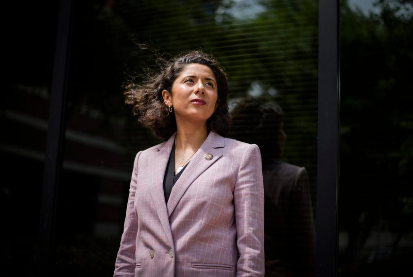Harris County Judge Lina Hidalgo poses for a portrait outside of her office on May 13, 2020.