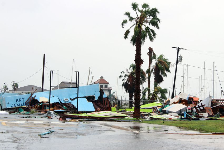 Rain pounds the piles of debris that used to be Sazon Studio & Gallery and Kinky Zebra in Rockport on August 26, 2017, the day after Hurricane Harvey brought devastating damage to the coastal Texas city.