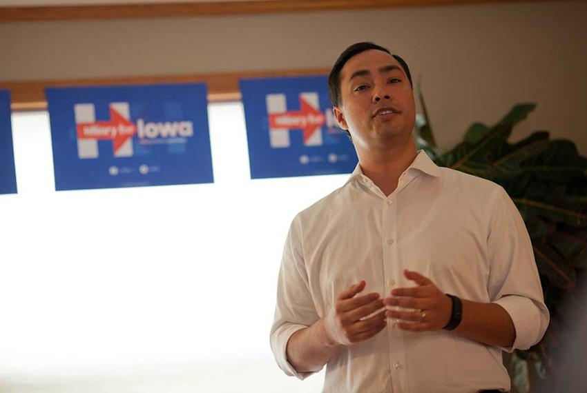 U.S. Rep. Joaquin Castro, D-San Antonio, speaks to a group of Hillary Clinton supporters at a campaign event held at the hom…