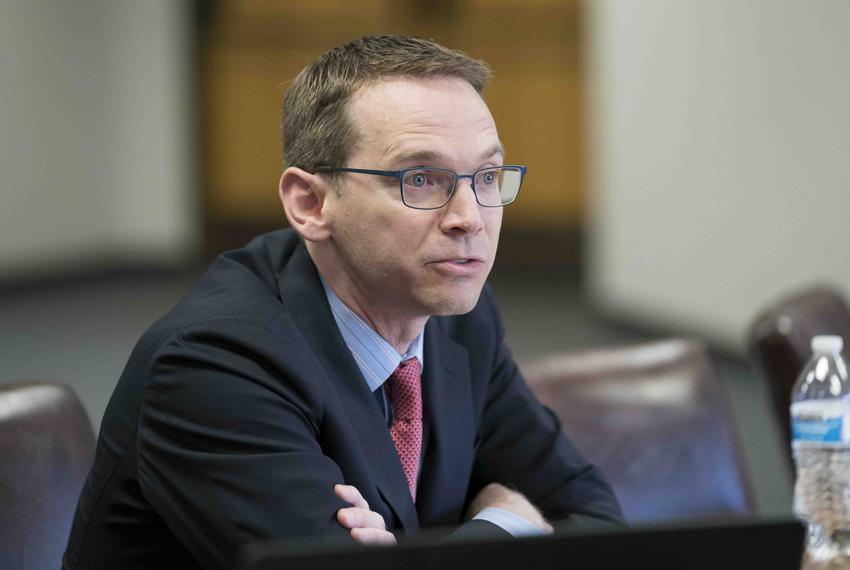 Texas Education Agency Commissioner Mike Morath testifies before the Texas Commission on Public School Finance about educa...