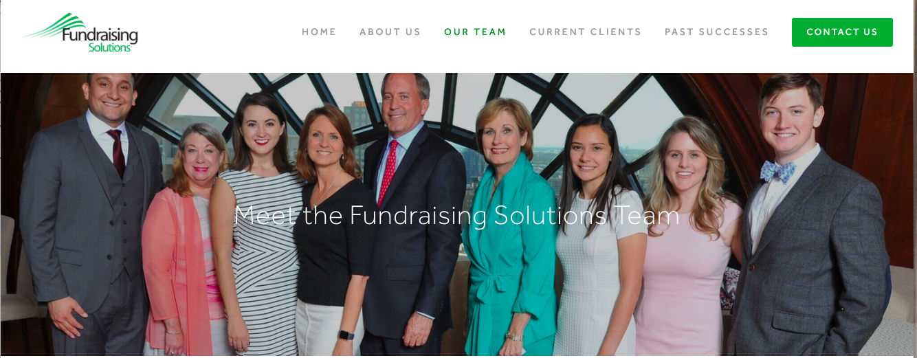 "Attorney General Ken Paxton (center) appears in a photo that says ""Meet The Fundraising Solutions Team"" on that company's website. Fundraising Solutions helped to solicit contributions for the 2019 Texas inauguration. Paxton's office is fighting The Texas Tribune's attempt to obtain records from organizers."