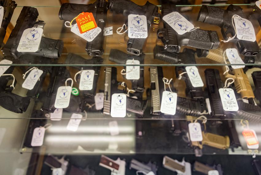 Hundreds of handguns and rifles for sale at McBride's Gun's in Central Austin on April 20, 2021.