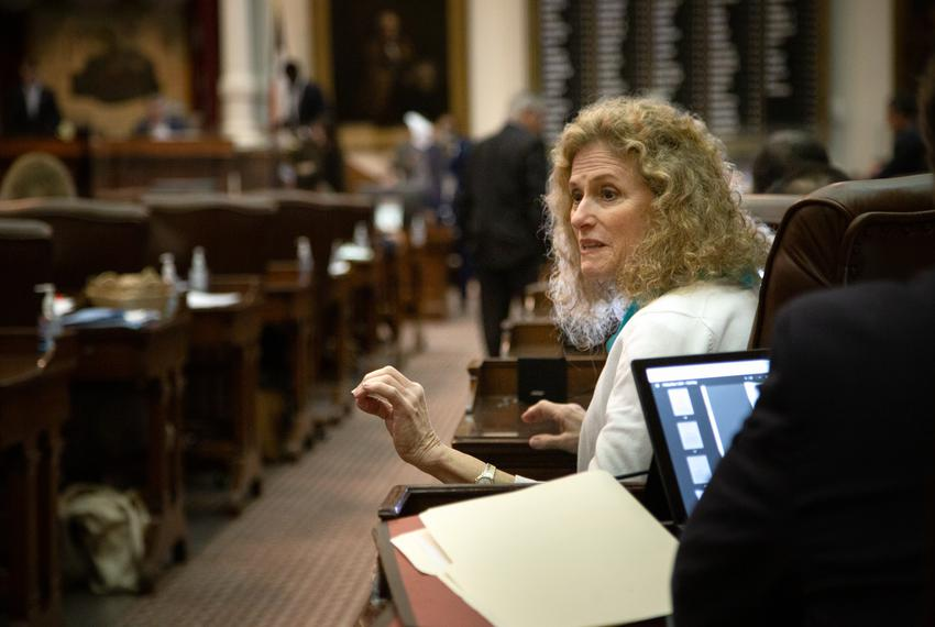 State Rep. Donna Howard, D-Austin, speals to colleague on the House floor at the state Capitol on May 28, 2021.