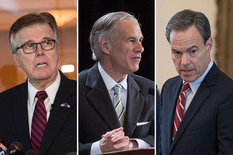 From left: Lt. Gov. Dan Patrick, Gov. Greg Abbott and House Speaker Joe Straus.