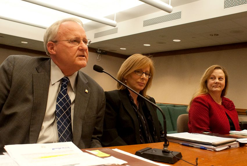 From left to right: Garry Adams, Sarah Kerrigan, and Aliece Watts at the House Public Safety Committee hearing.