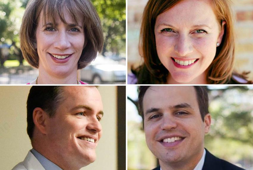 Clockwise from top left: Laura Moser, Lizzie Pannill Fletcher, Alex Triantaphyllis and Jason Westin, four of the seven Dem...