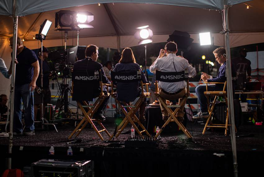 MSNBC news anchors before a telecast on Congress Ave. during The Texas Tribune Festival on Sept. 28, 2019.